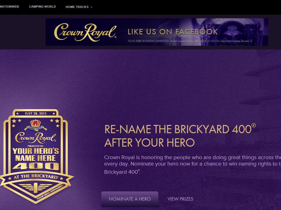 2013 Crown Royal Your Hero's Name Here Sweepstakes