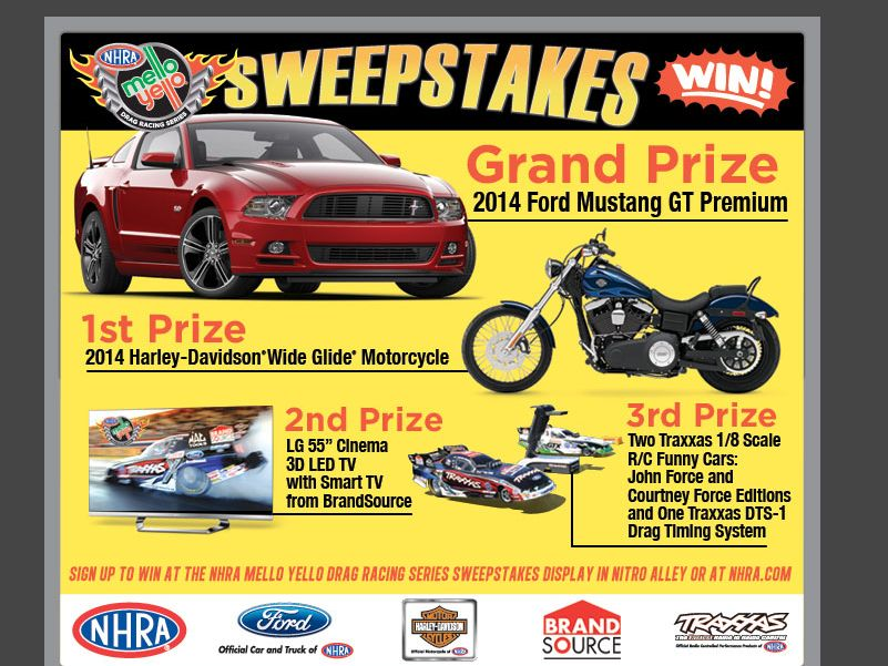 2013 NHRA Mello Yello Drag Racing Series Sweepstakes