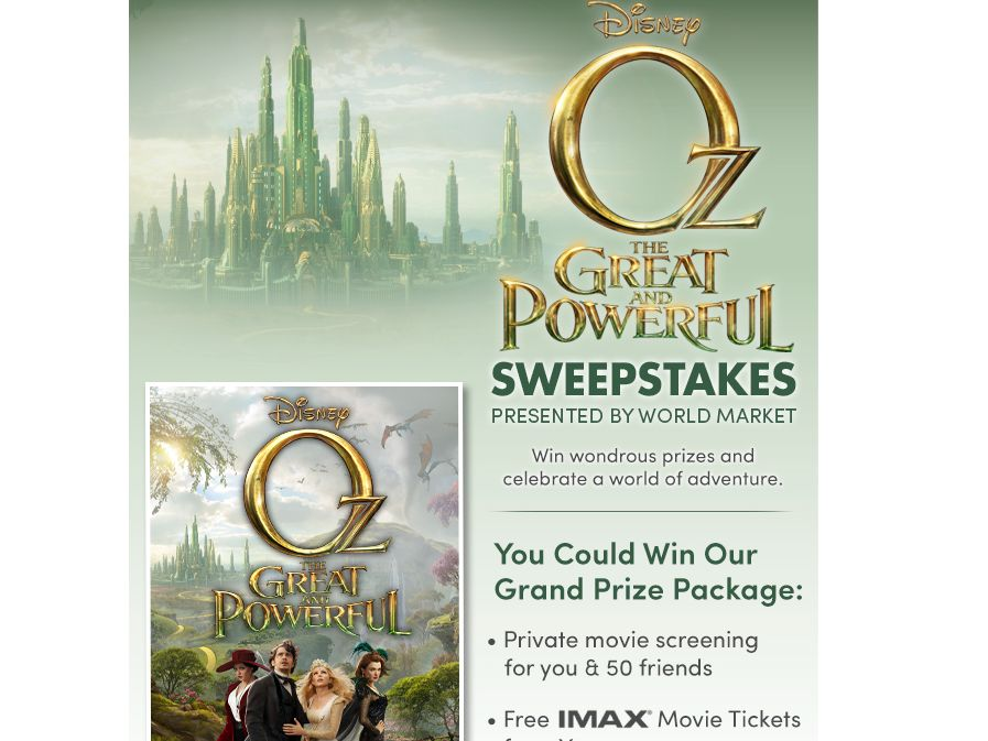World Market Oz The Great and Powerful Sweepstakes