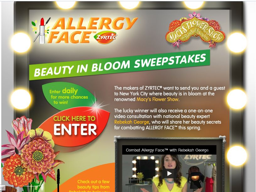 Zyrtec Allergy Face Beauty In Bloom Sweepstakes
