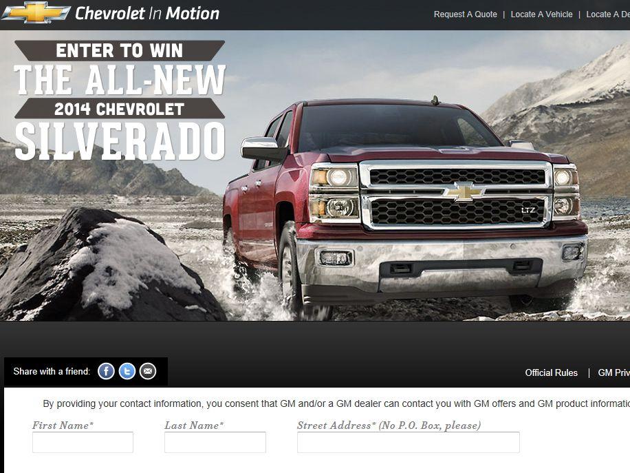2014 Chevrolet Silverado Giveaway Sweepstakes
