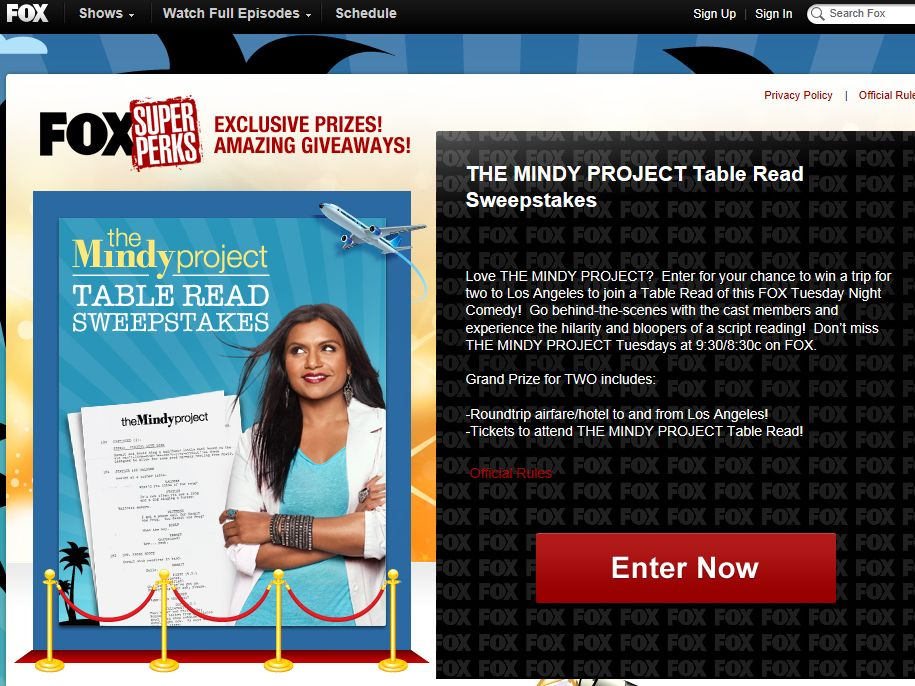 Fox'sThe Mindy Project Table Read Sweepstakes