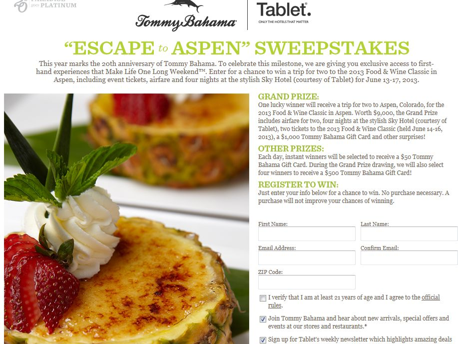 Tommy Bahama Escape to Aspen Sweepstakes