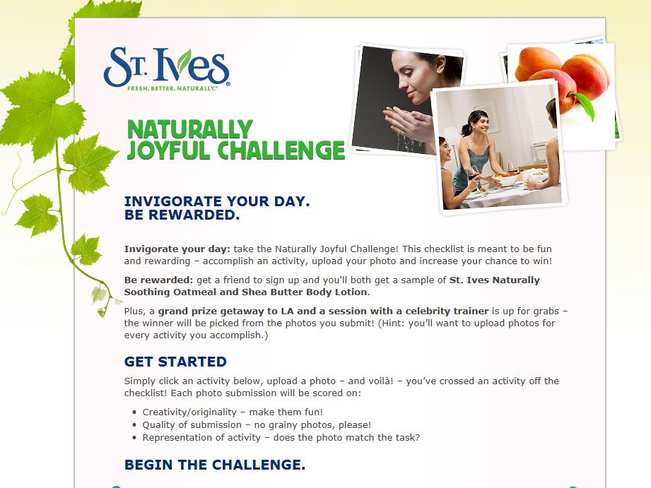 St. Ives Naturally Joyful Challenge Sweepstakes