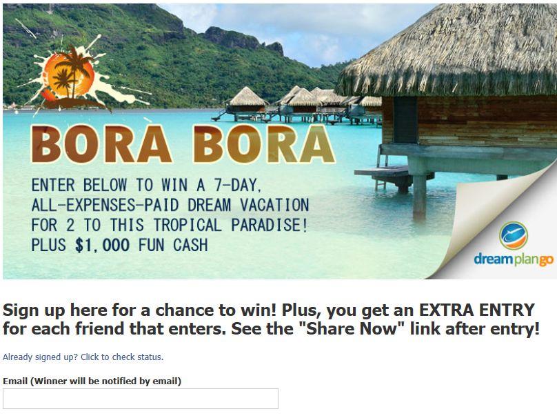 DreamPlanGo Trip of a Lifetime: Bora Bora Sweepstakes