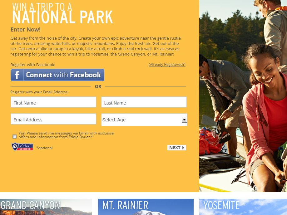 Eddie Bauer Win a Trip to a National Park Sweepstakes