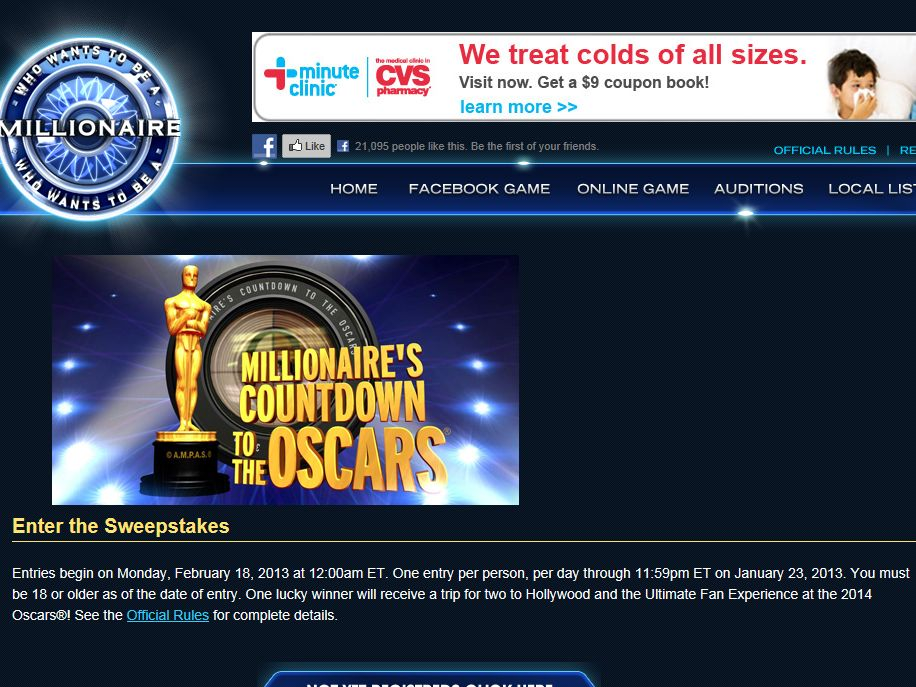 Millionaire's Countdown to the Oscars Sweepstakes