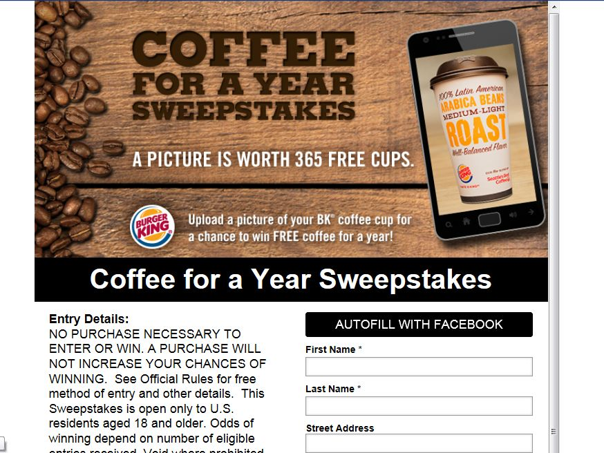 BURGER KING Coffee for a Year Sweepstakes