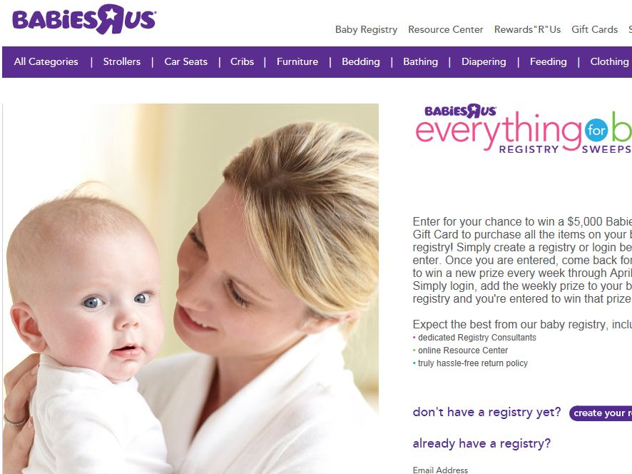 """Babies """"R"""" Us Everything For Baby Registry Sweepstakes"""