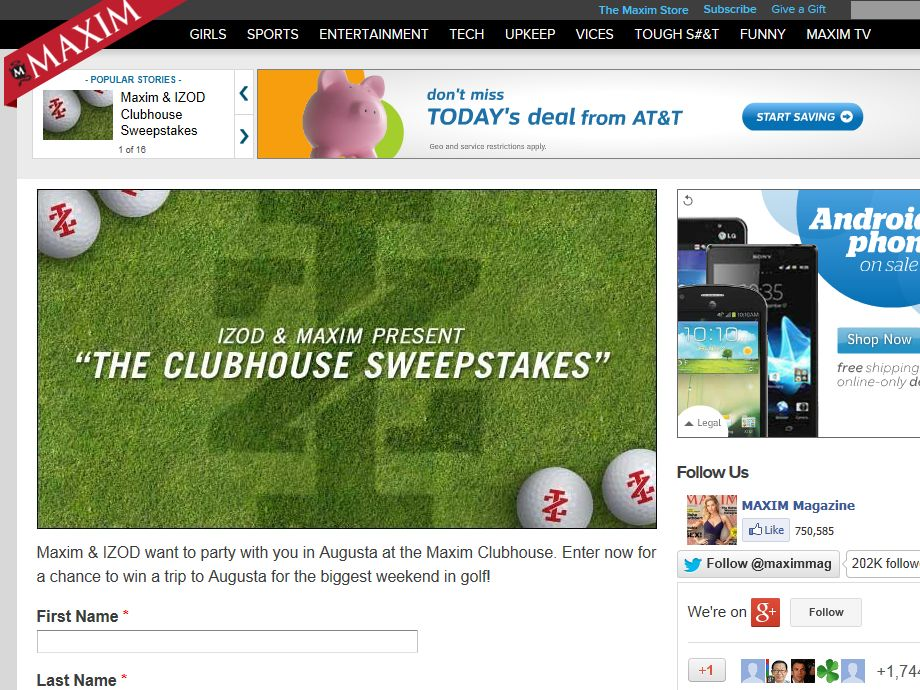 Party In Augusta: Maxim Clubhouse Sweepstakes