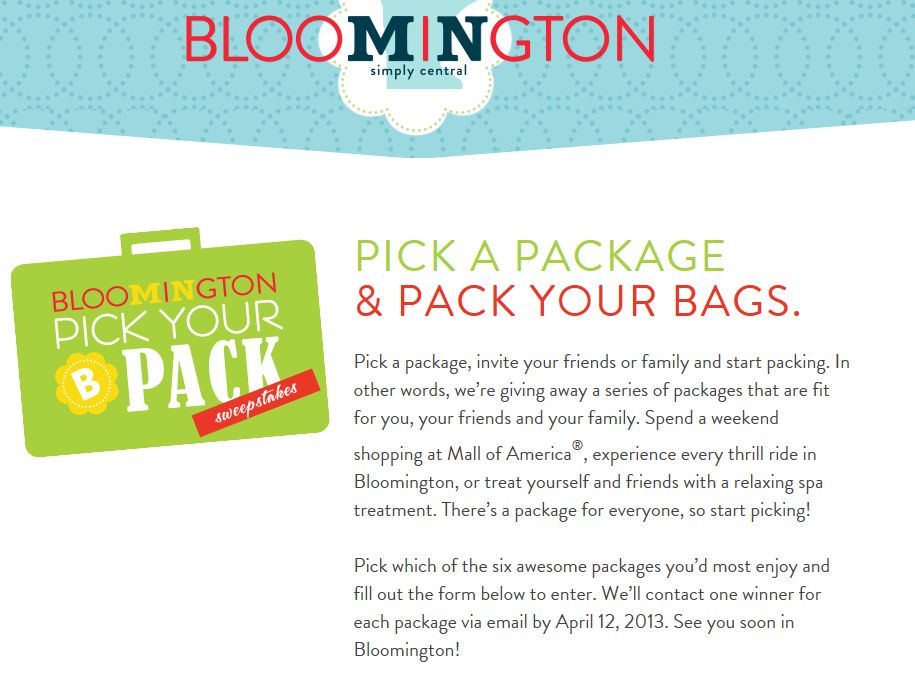 2013 Destination Bloomington's Spring Giveaway Sweepstakes