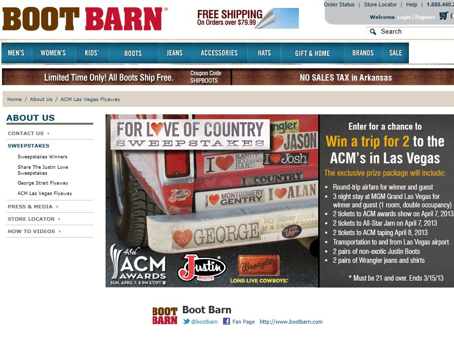 Boot Barn For Love of Country Sweepstakes