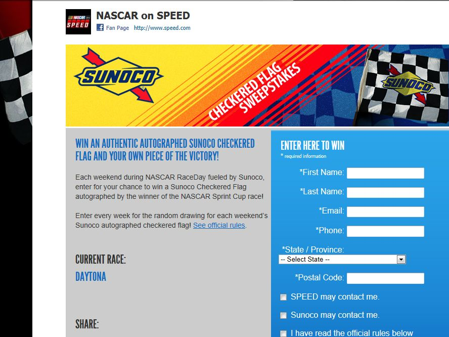 2013 Speed Sunoco Checkered Flag Sweepstakes