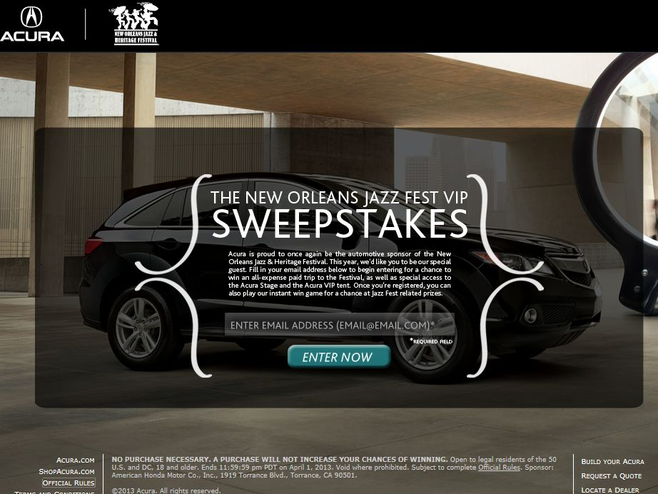 New Orleans Jazz Festival VIP Sweepstakes & Instant Win Game