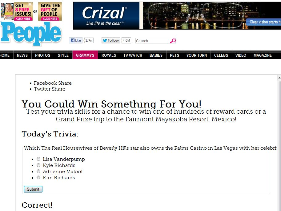 People Magazine Win Something For You Sweepstakes