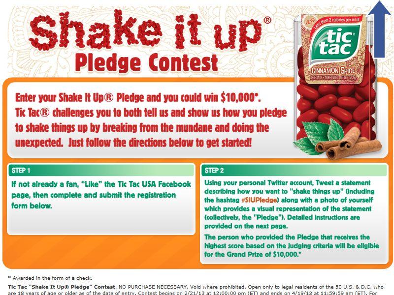 Tic Tac Shake It Up Pledge Contest