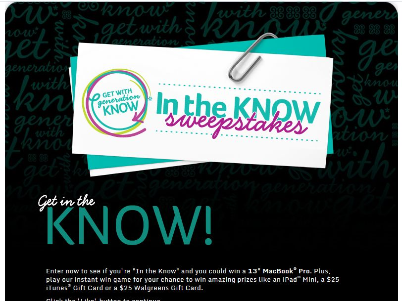 Walgreens In the Know Sweepstakes