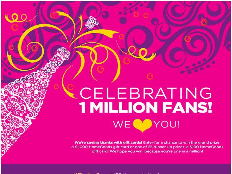HomeGoods Million Facebook Fan Celebration Sweepstakes