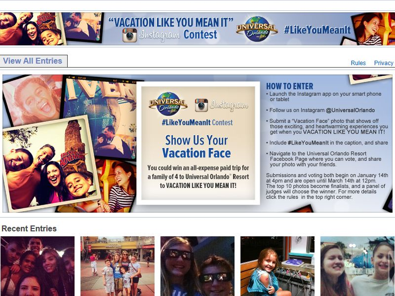 Universal's Vacation Like You Mean It Instagram Photo Contest