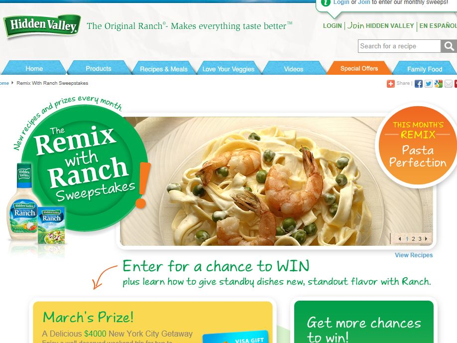 Hidden Valley Ranch Remix Instant Win Game & Sweepstakes