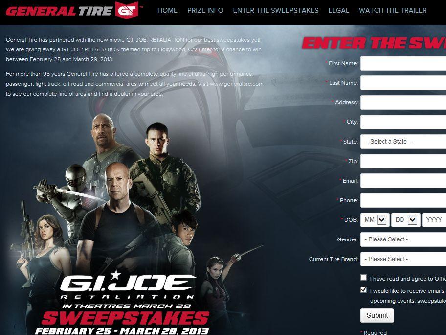 General Tire 2013 G.I. JOE: Retaliation Sweepstakes