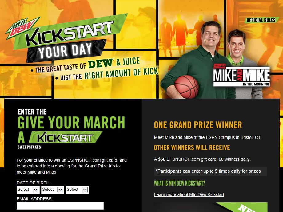 Mountain Dew Give Your March a KickStart Sweepstakes