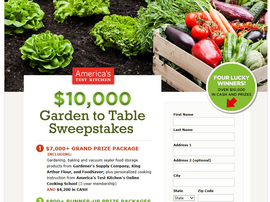 America's Test Kitchen $10,000 Garden to Table Sweepstakes