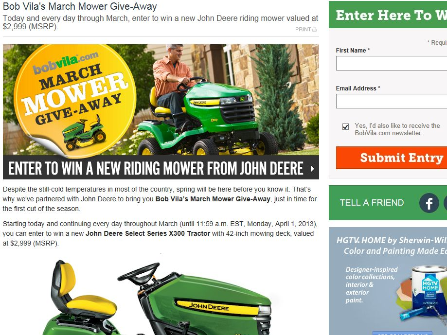 Bob Vila's March Mower Give-Away from John Deere Sweepstakes