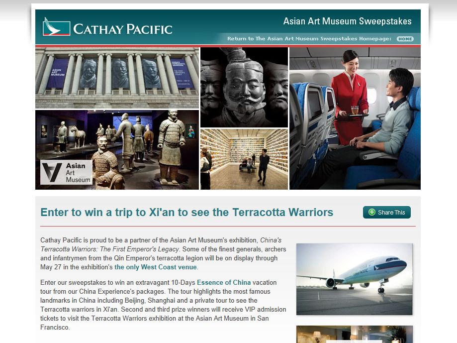 Cathay Pacific's See the Terracotta Warriors in Xi'an Sweepstakes