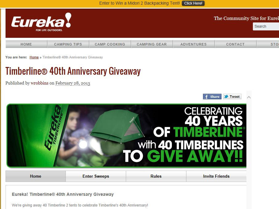 Eureka! Timberline 40th Anniversary Giveaway Sweepstakes