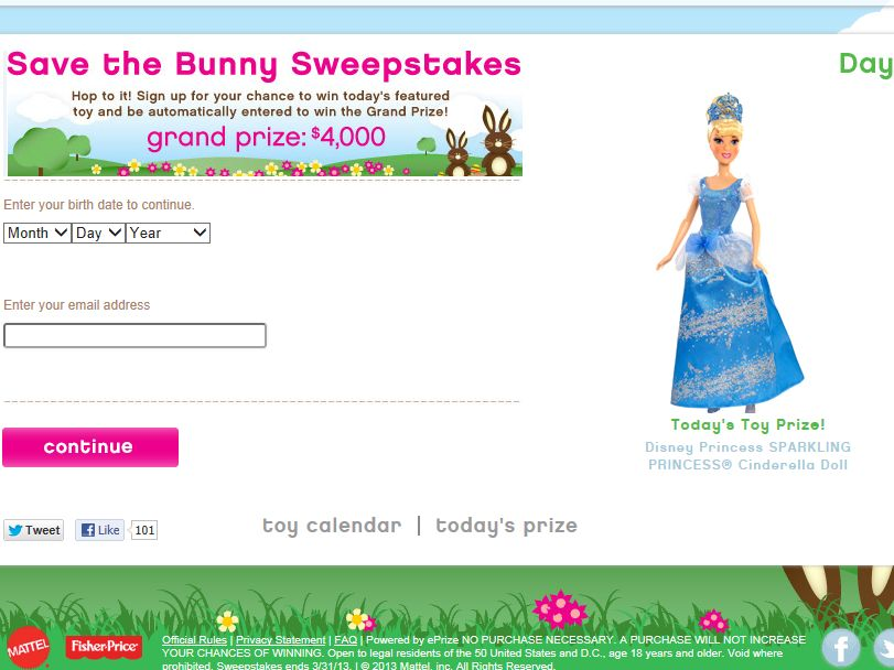 Mattel Save the Bunny Sweepstakes