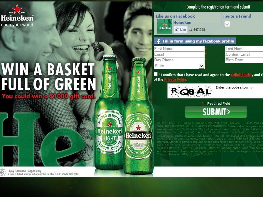 HEINEKEN Basket of Green ($1000) Sweepstakes
