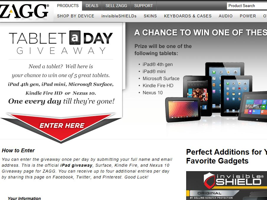 Zagg Tablet a Day Sweepstakes