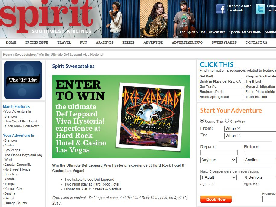 Spirit Southwest Airlines Sweepstakes