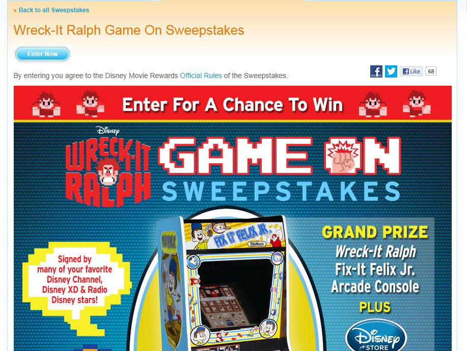 Wreck It Ralph Game On Sweepstakes