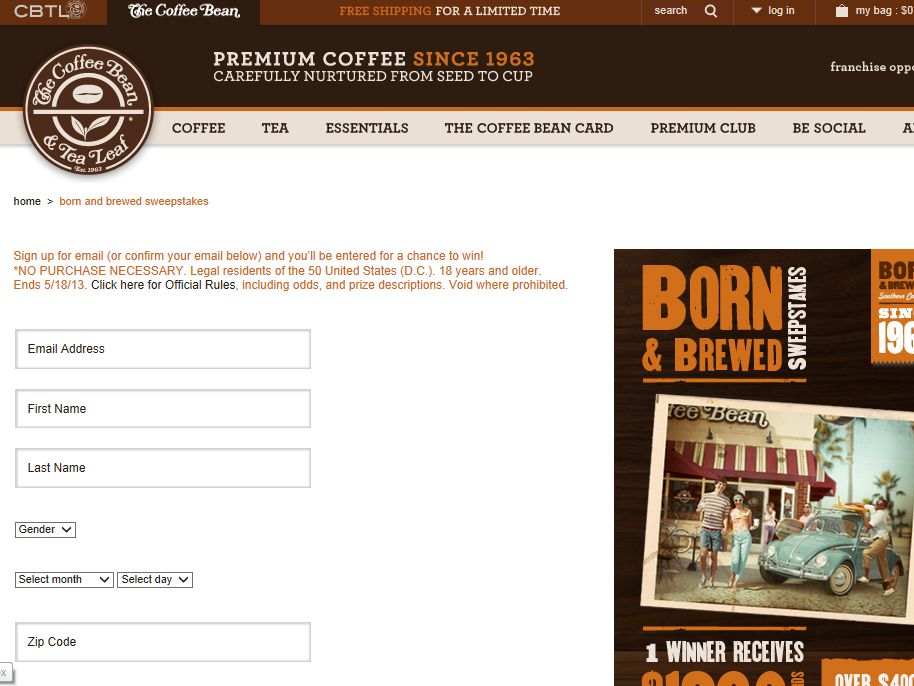 Coffee Bean Born & Brewed Sweepstakes