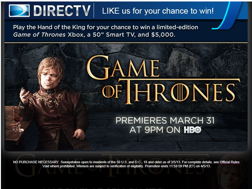 HBO Game of Thrones Hand of the King Sweepstakes