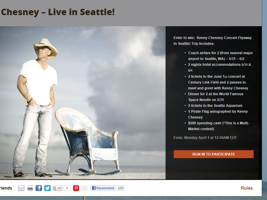 Win a Trip to See Kenny Chesney in Seattle, WA Contest