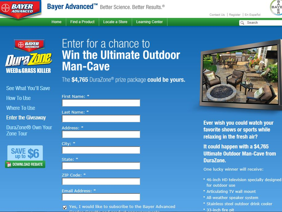 Bayer Advanced DuraZone Ultimate Outdoor Man-Cave Giveaway