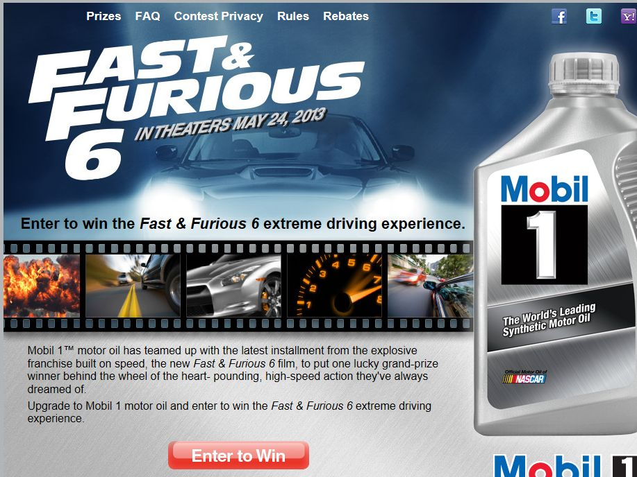 Fast & Furious 6 Extreme Driving Experience Sweepstakes