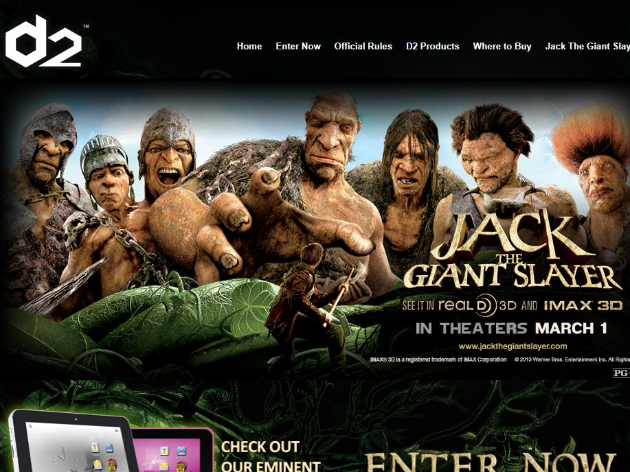D2 Pad & Jack the Giant Slayer Sweepstakes