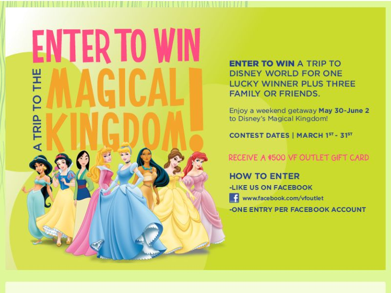 VF Outlet Magical Kingdom Sweepstakes