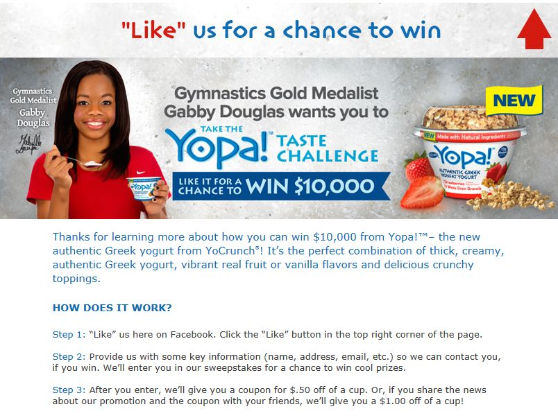 Yopa! Like it for a Chance to Win $10,000 Sweepstakes