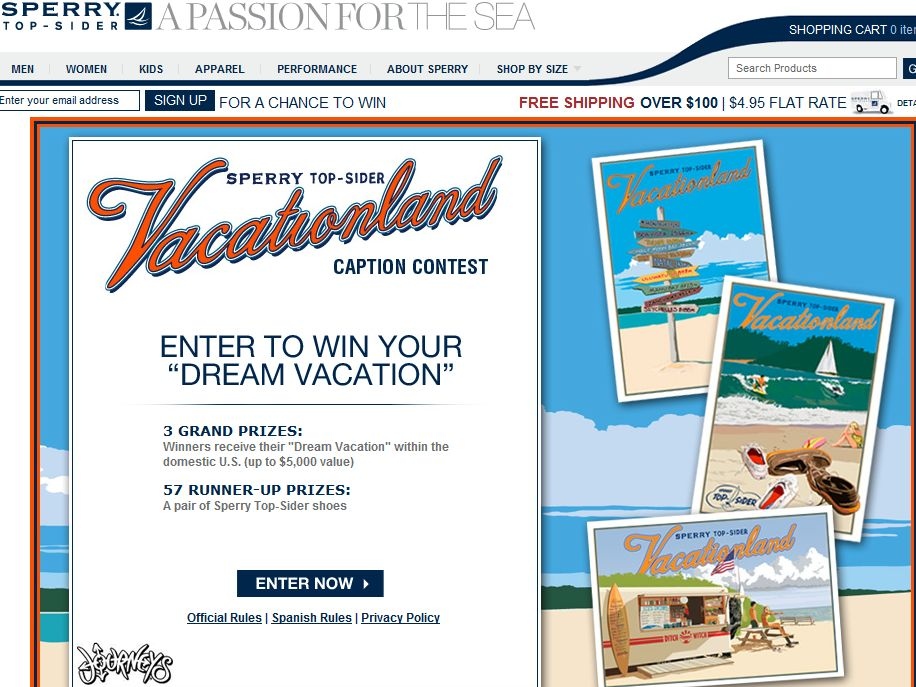 Sperry Top-Sider Vacationland Caption Contest and Sweepstakes