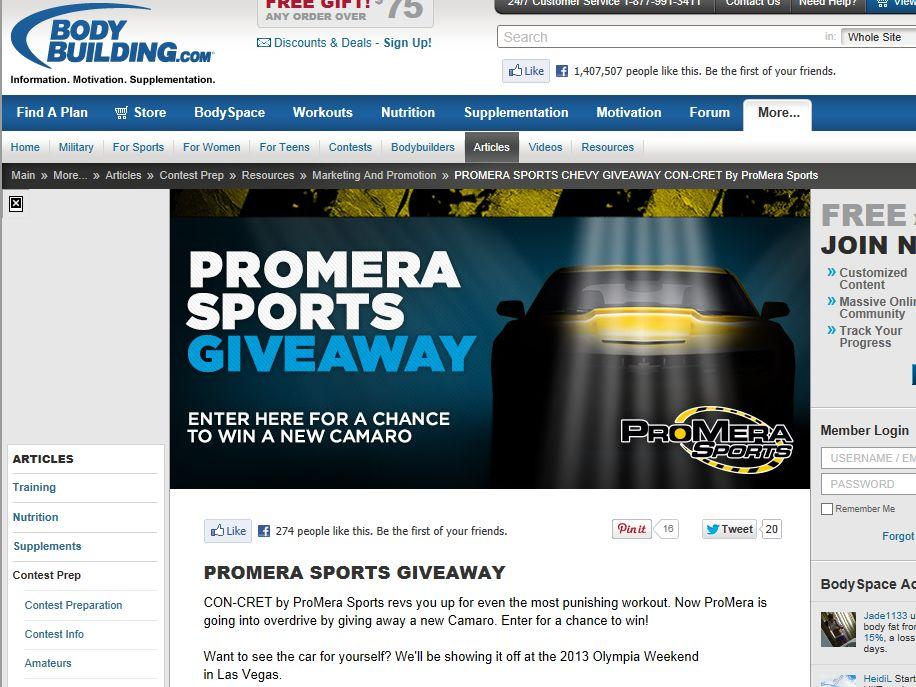 ProMera Sports Car Giveaway
