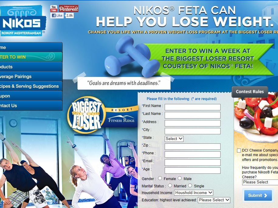 DCI Cheese Company, Inc. Nikos Fitness Journey Sweepstakes