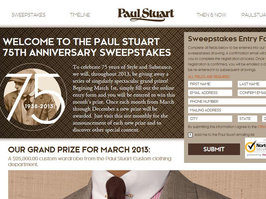 Paul Stuart 75th Anniversary Sweepstakes