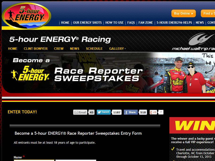 Become a 5-hour ENERGY® Race Reporter Sweepstakes