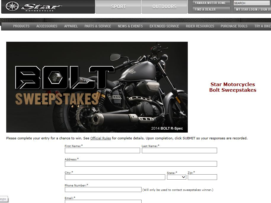 Star Motorcycles 2014 Sweepstakes