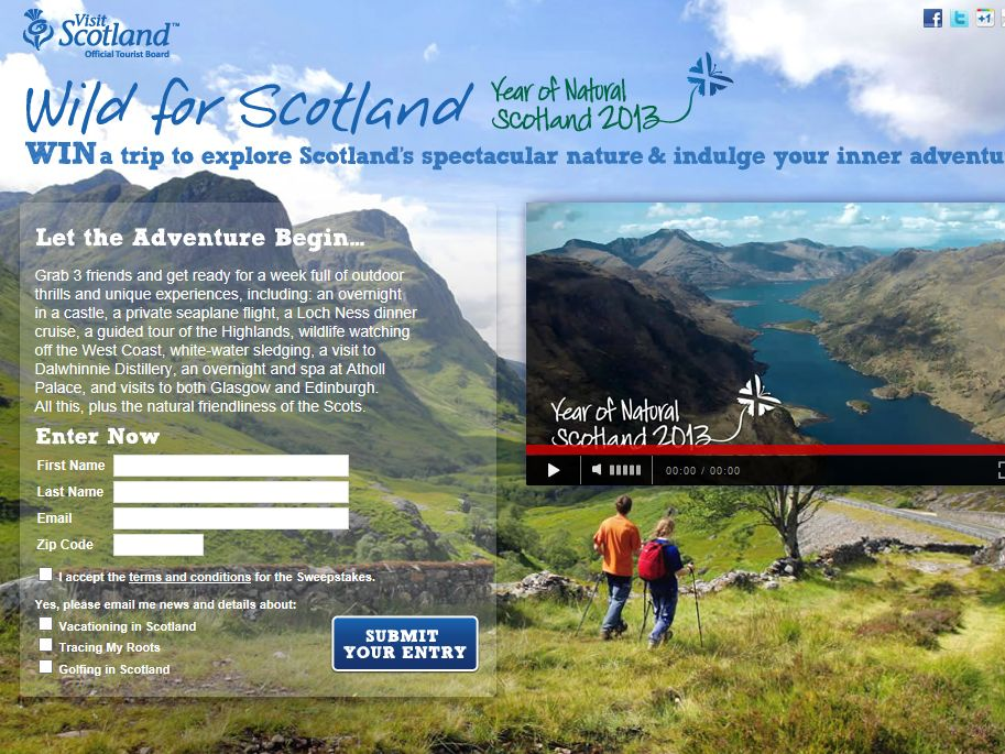 VisitScotland Year of Natural Scotland 2013 Sweepstakes